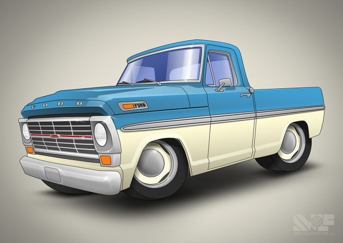 a vector art using photoshop and illustrator of a 1969 ford blue pickup truck