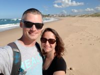 photograph of aaron and amy on nobody's beach in newcastle australia