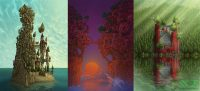 three of the coloured digital photoshop illustrations art the kingdom the tree house town and the lakeside cathedral