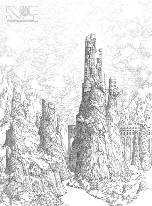 a micron pen ink illustration art artwork of castle fortress town with trees water ocean bridges of mountains beyond mountains