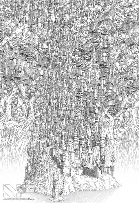 a micron pen ink illustration art artwork of castle fortress town with trees water ocean bridges digital composition the avalanche