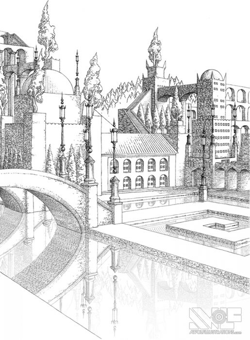 a micron pen ink illustration art artwork of castle fortress town with trees water ocean bridges the courtyard