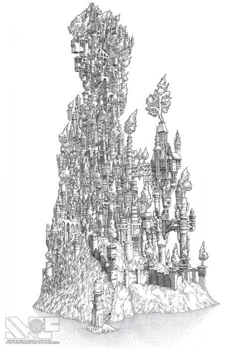 a micron pen ink illustration art artwork of castle fortress town with trees water ocean bridges the kingdom