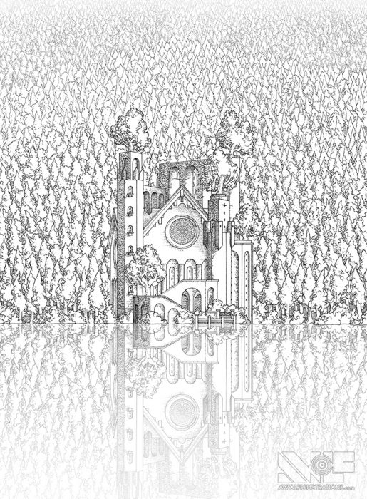 a micron pen ink illustration art artwork of castle fortress town with trees water ocean bridges the lakeside cathedral reflection on water