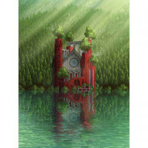 large colour print of a delicate balance the lakeside cathedral for sale to buy