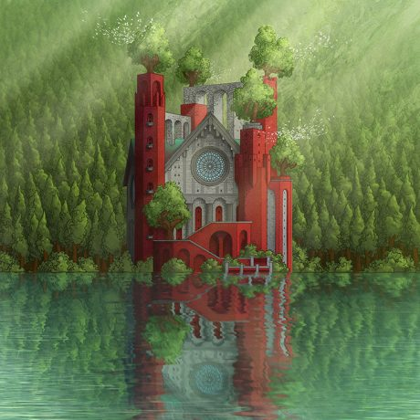 digital colour of a hand ink drawing of a cathedral sitting on the edge of a lake with the building and the forest reflected onto the water
