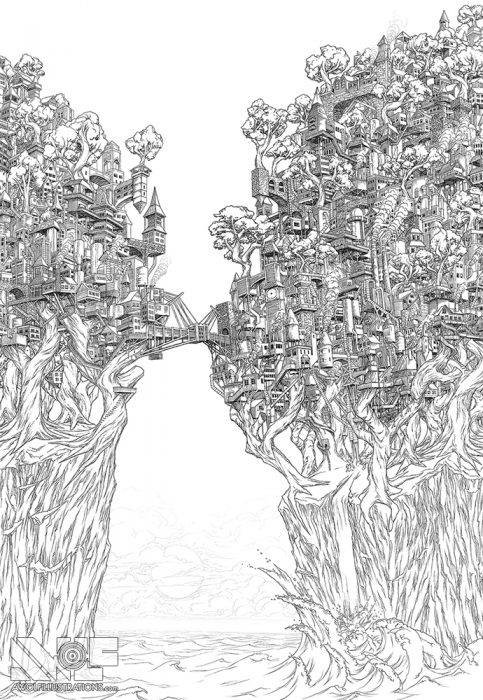 a micron pen ink illustration art artwork of castle fortress town with trees water ocean bridges the treehouse