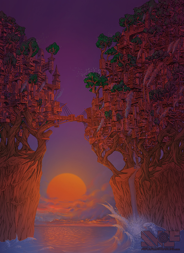 a digital coloured photoshop artwork of a sunset all purple and orange lighting up a town built in the trees upon cliffs overlooking the ocean