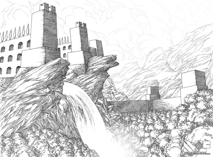 a micron pen ink illustration art artwork of castle fortress town with trees water ocean bridges of the waterfall