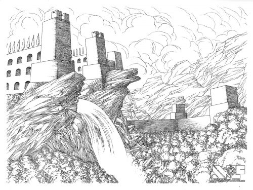a micron pen ink illustration art artwork of castle fortress town with trees water ocean bridges the kingdom the original pen ink drawing for sale to buy