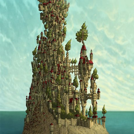 a digital photoshop coloured illustration art artwork of the kingdom a island castle full of trees