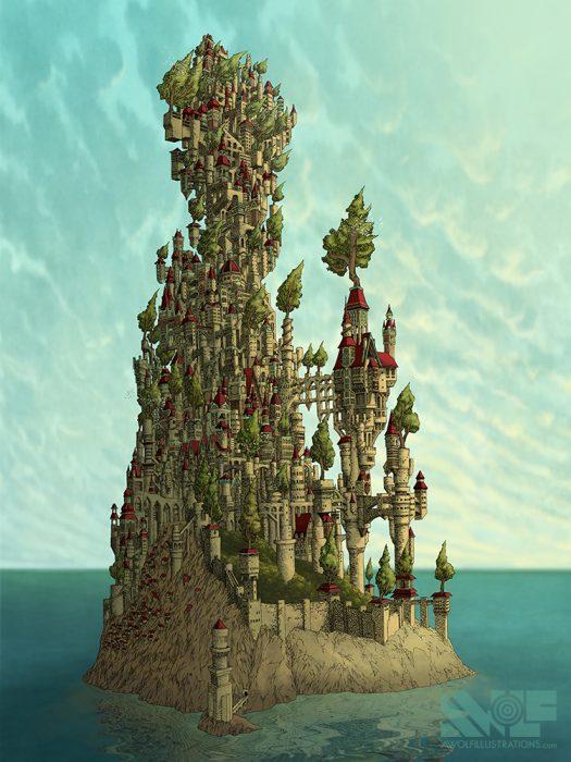 a digital photoshop coloured illustration art artwork of the kingdom a island castle full of trees