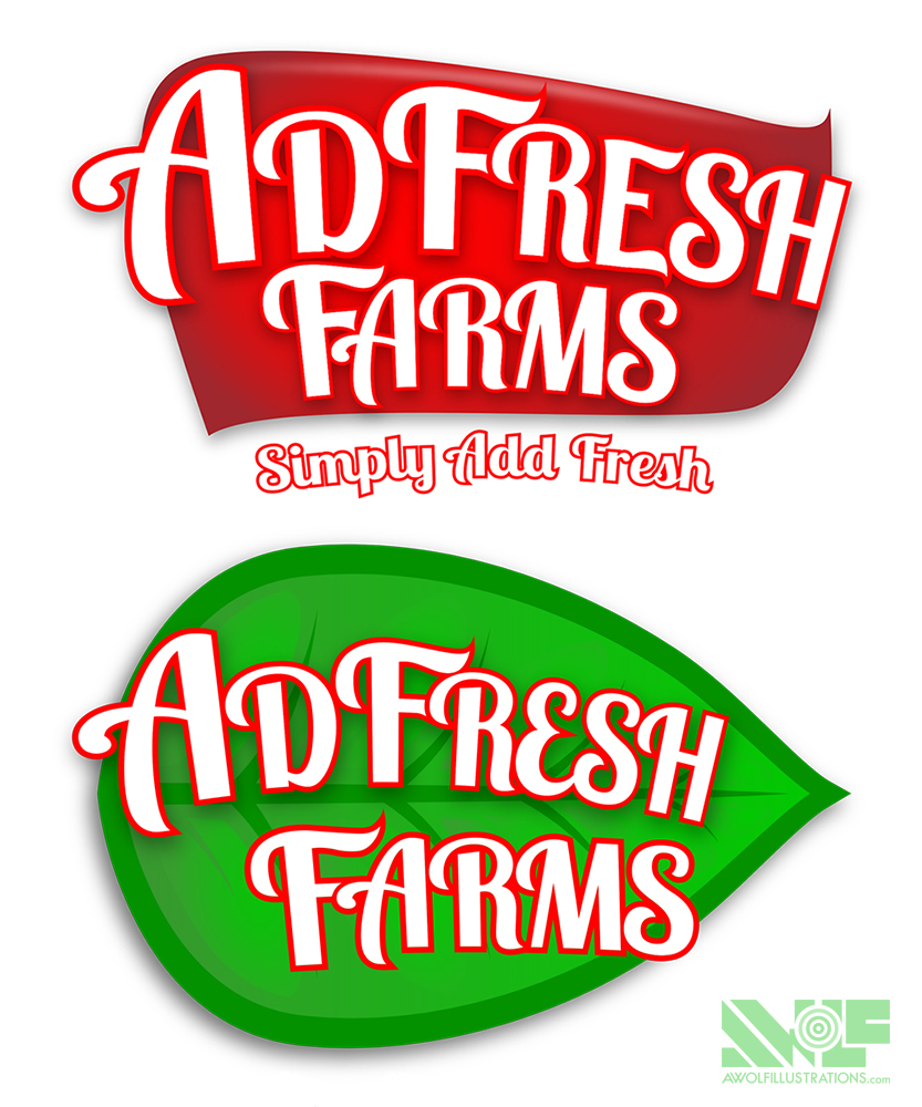 two different digital art photoshop designs of a logo for a farm in queensland Australia