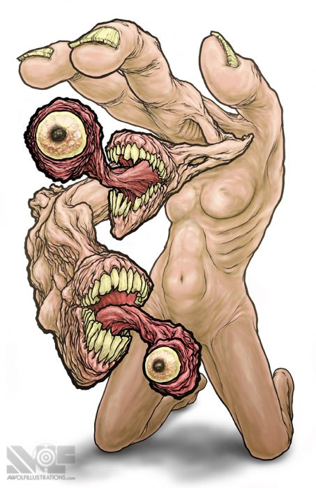 a digital illustration of a monster concept of a nude naked woman and her head is a hand with monster mouths with eyes