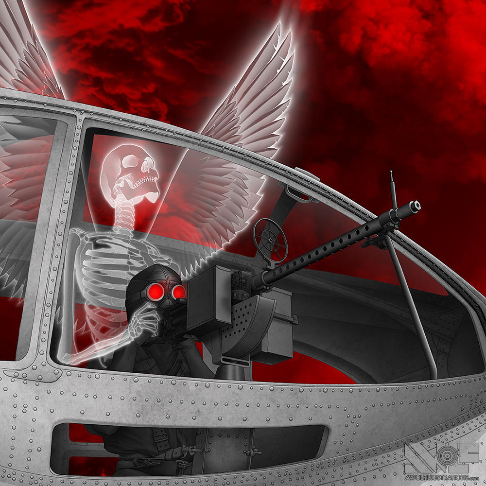 A digital photoshop drawing of a leather clad military gunman and an with skeleton angel emerging from his body looking to the blood red clouds of heaven