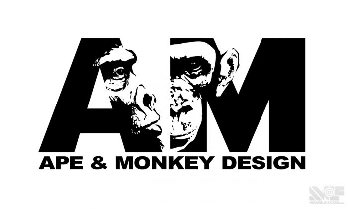 a digital photoshop logo of a monkey and ape gorilla combined with a and m