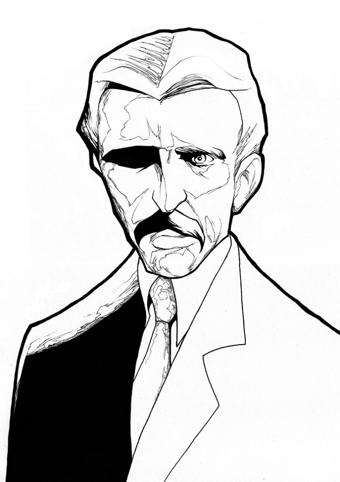 ink drawing portrait of the inventor nikola tesla for sale to buy