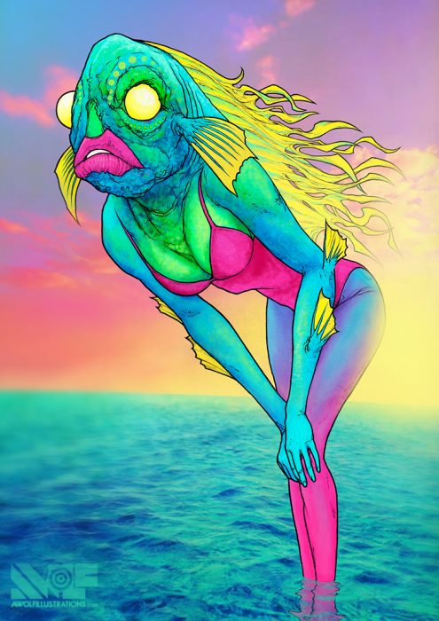 a ink pen drawing coloured using photoshop of a woman in a bathing suit with the head of a fish in a sexy pose in the ocean