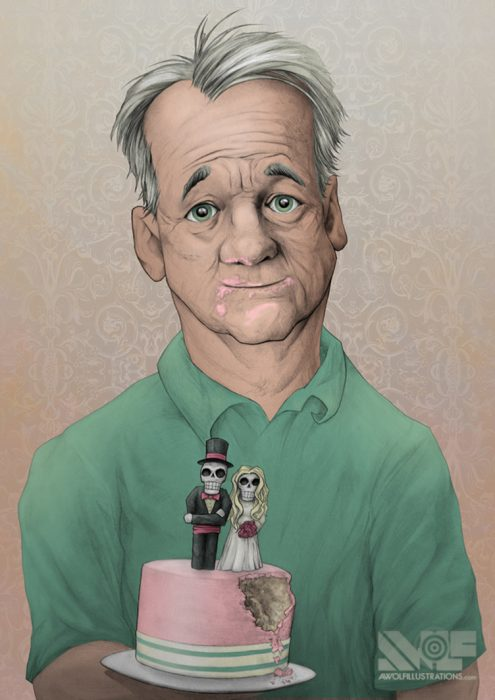 a hand drawn pencil and ink illustrations art colour with photoshop of actor comedian bill murray holding a wedding cake with cake on his face