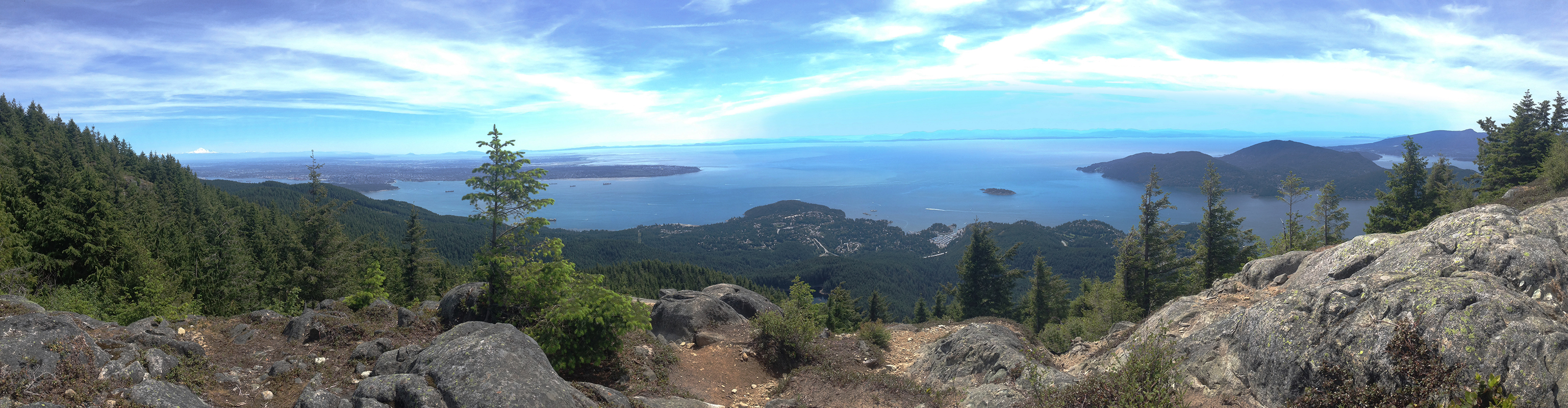 photograph from atop black mountain looking towards vancouver island and the pacific ocean