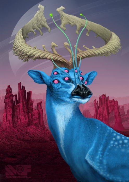 a digital art photoshop illustration of a blue deer alien on a far away planet in a purple desert