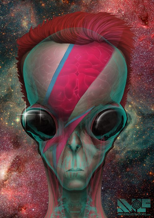 a digital art photoshop illustration of an alien with the lightning bolt of david bowie and brain and skeleton