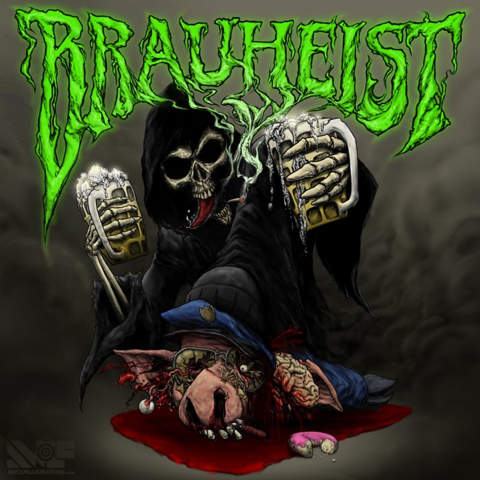 digital photoshop art heavy metal album cover of the grim reaper holding two beers and smashing a pig cop for band brauheist