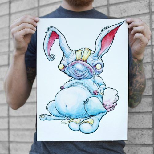 a water colour painting of a bunny rabbit and his tiny drippy dick for sale to buy