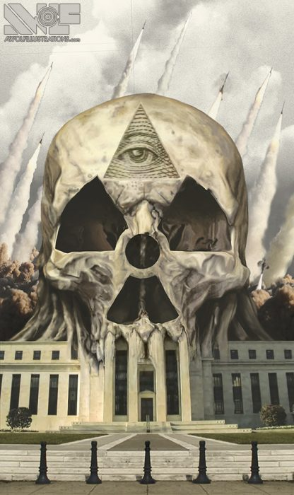 digital photoshop artwork and album heavy metal band shirt design of a skull and nuclear missles in the sky of the federal reserve bank