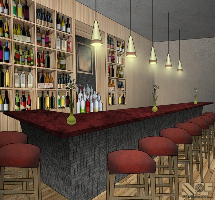 digital photoshop and illustrator vector illustration for video game background of a bar with bottles of alcohol lining the back wall