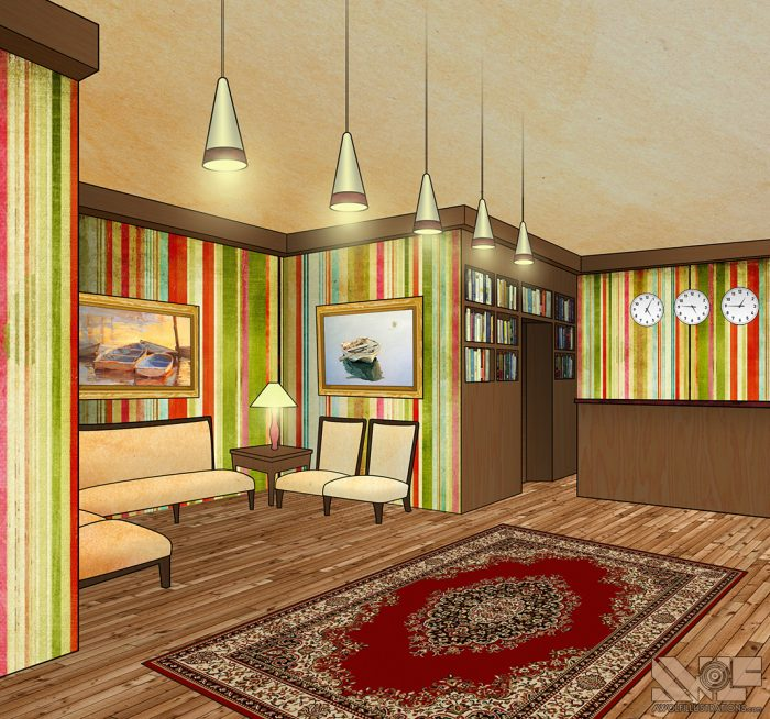 digital photoshop and illustrator vector illustration for video game background of a motel front room lobby with a carpet and couches