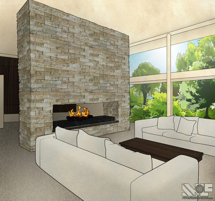 digital photoshop and illustrator vector illustration for video game background of a modest living room with couches and a fireplace