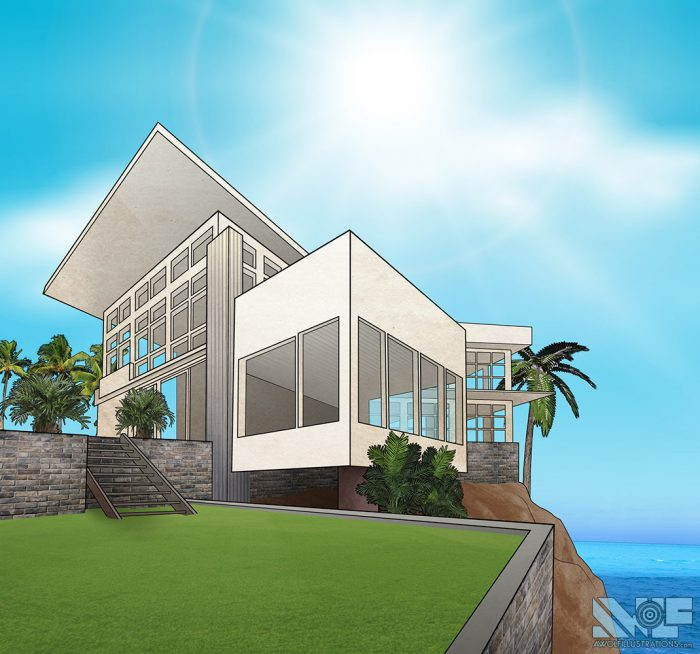 digital photoshop and illustrator vector illustration for video game background of a modern house on a private tropical island