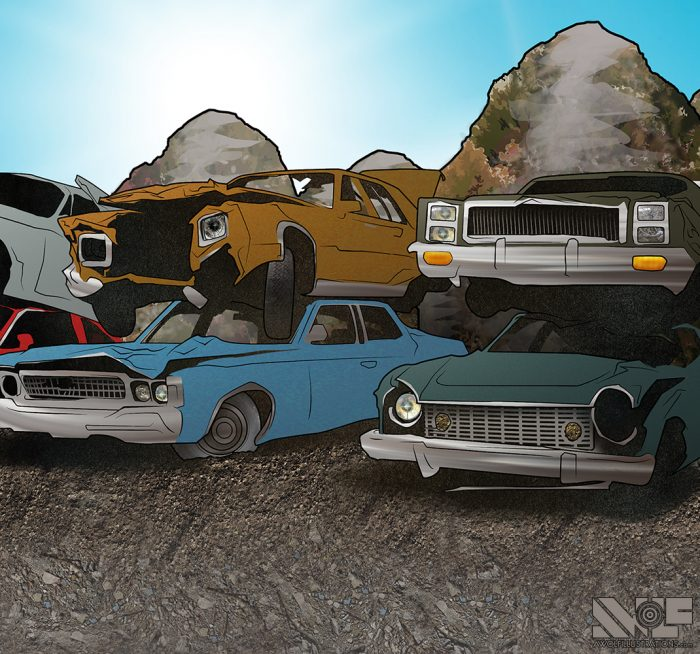 digital photoshop and illustrator vector illustration for video game background of a junkyard with destroyed old cars