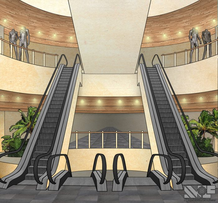 digital photoshop and illustrator vector illustration for video game background of a mall with escalators and shops