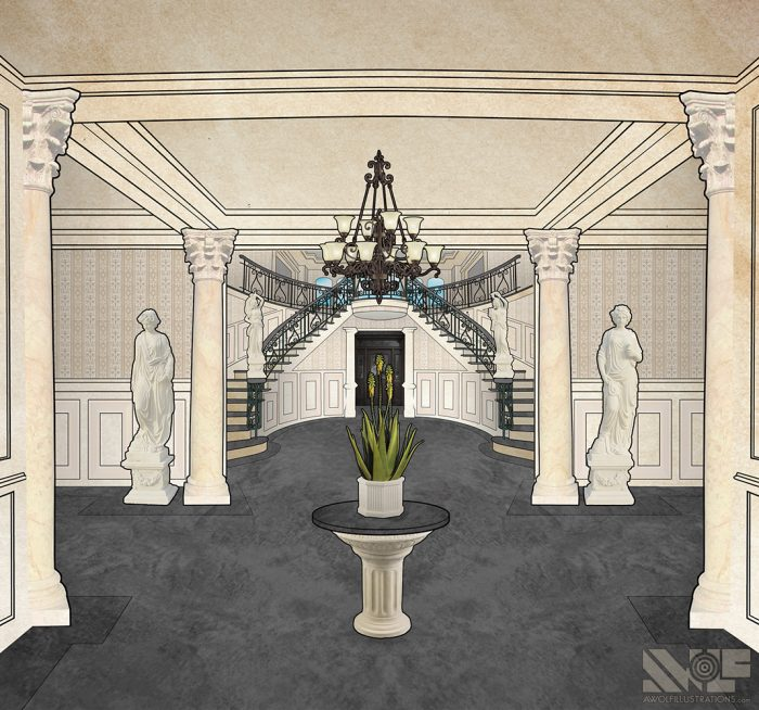 digital photoshop and illustrator vector illustration for video game background of a face marble mansion interior with statues
