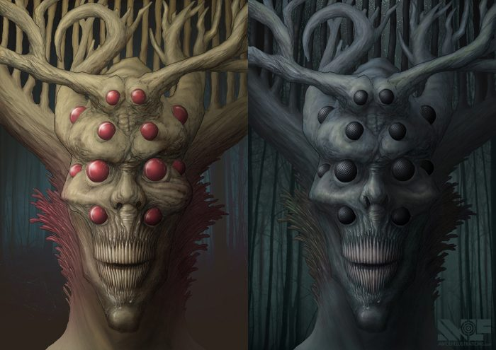 side by side digital illustration of two dark forest spirits demons with multiple eyes and tree like horns