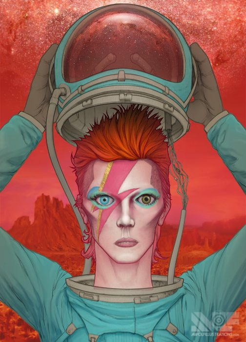 a digital photoshop illustration artwork of an astronaut david bowie as ziggy stardust taking off his helmet on mars
