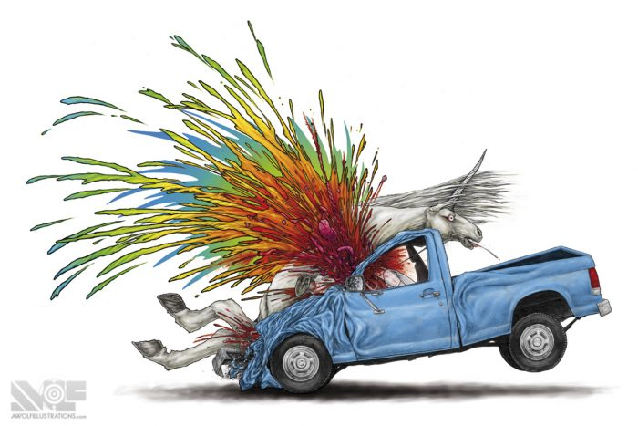 a hand drawing colour with photoshop art illustration of a unicorn being hit by a blue pickup truck and blood brains and organs spraying out in a rainbow