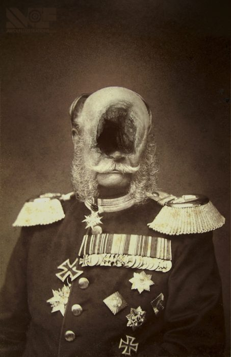 a digital manipulation photosmash on photoshop of a general colonel king army military man with a hole in his head