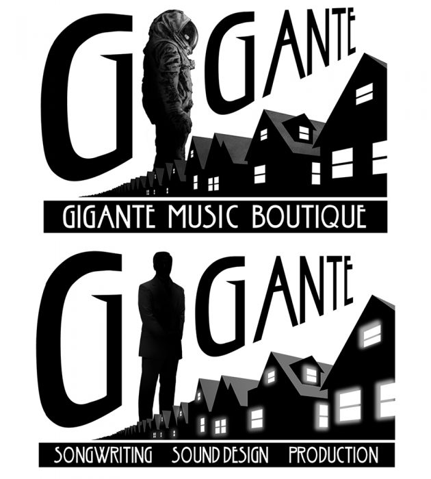 two logos created on photoshop art for a music company of suburban houses and an astronaut and businessman giant figure
