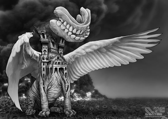 a photosmash collage manipulation using photoshop of a dog with a gothic building body and the white wings of an eagle and dentures face standing in a burning tire fire