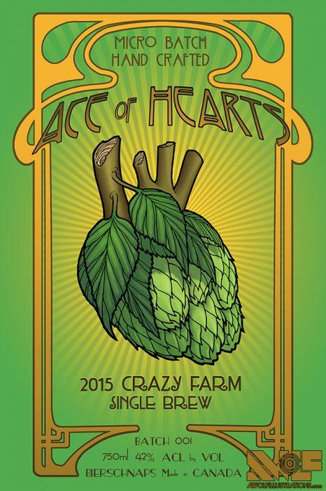 a digital photoshop art beer label of a green hops human heart and sunburst