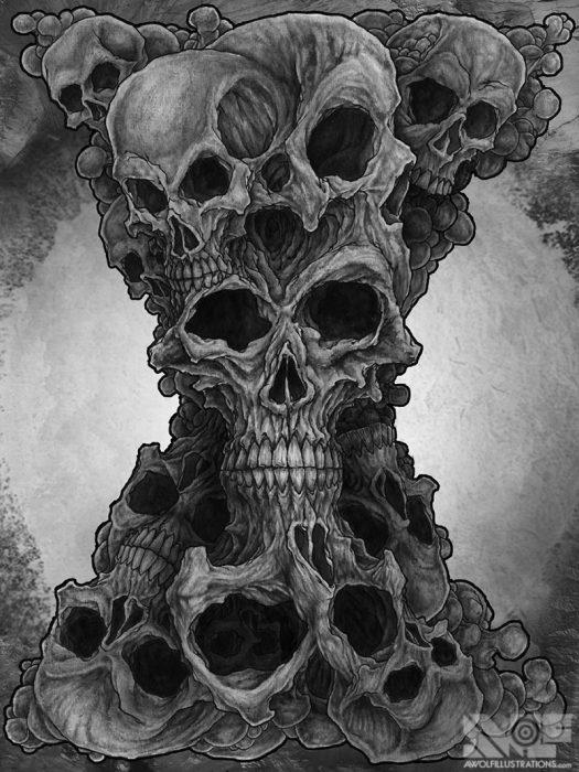 a ink pen illustration art of skulls forming together to make an hour glass