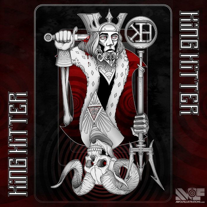 ink pen illustration art photoshop colour album cover for the heavy metal music band king hitter of a playing card with a devil demon