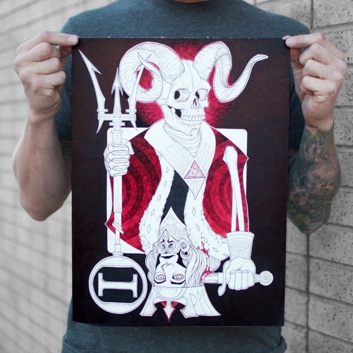 a painting of the suicide king used for the king hitter metal band album cover for sale to buy