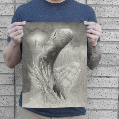 a pencil drawing of a whale jumping out of the ocean about to crush a tall ship for sale to buy