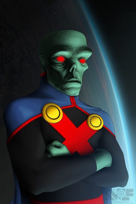a digital art photoshop illustration of martian manhunter alien of justice league in space looking down at earth