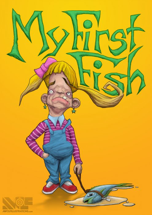 digital colour illustration art of comedic childrens book cover of a girl with pigtails and her dead pet fish on a leash