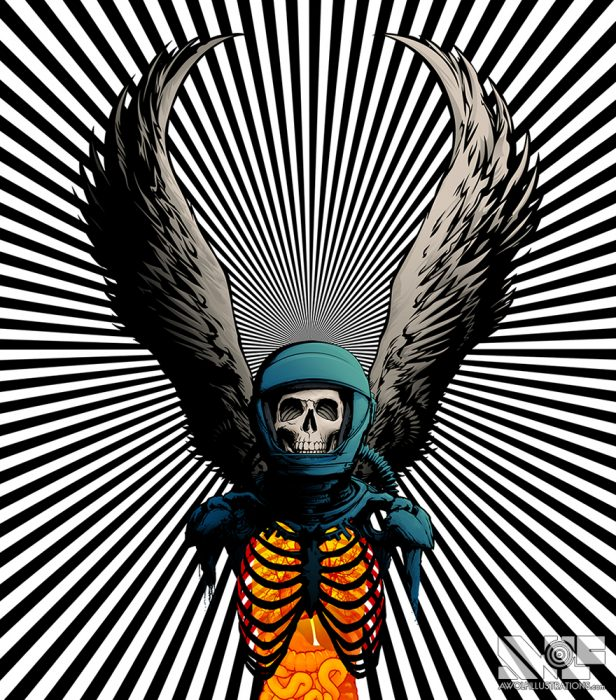 an heavy metal album cover photoshop and illustrator vector art of a skeleton astronaut and the wings of an ange